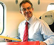 Tony Blair aloft